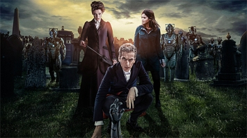 "A promotional photo for ""Death in Heaven"". (From left to right) Missy, The Doctor, Clara and the Cybermen."