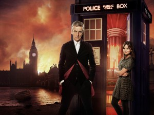 The Doctor (Peter Capaldi) and Clara (Jenna Coleman) with the TARDIS in Victorian London.