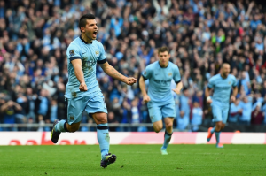 Premier League: Manchester City striker Sergio Aguero celebrates after giving his side the lead over rivals Manchester United. City won the Manchester Derby 1-0 over a shorthanded United side on Saturday.