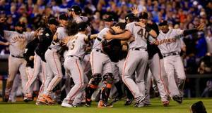 The San Francisco Giants celebrate their seventh game victory over the Kansas City Royals, as they claimed the World Series on Wednesday.