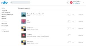 rdio's listening history