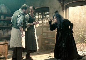 The Baker (James Corden) and The Baker's Wife (Emily Blunt) meet The Witch (Meryl Streep).